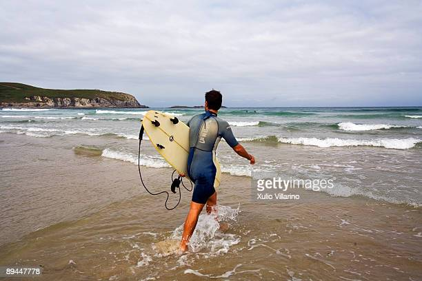 Galicia Surfer in the beach of Pantin Valdovino La Coruna