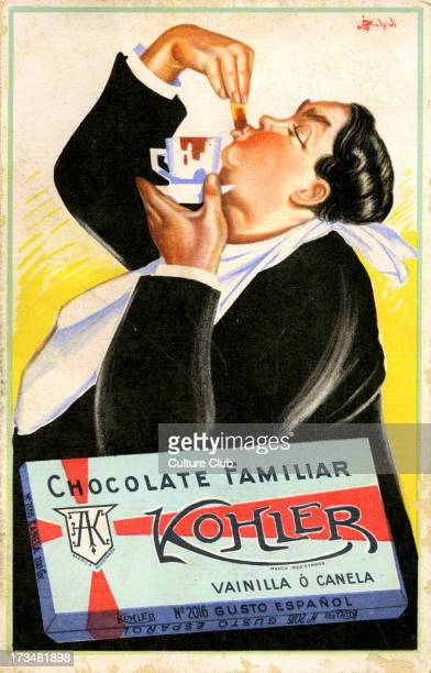 Galician advertisement for Kohler family chocolate Shows a rotund man with napkin round his neck eating something he has dipped in a cup of chocolate