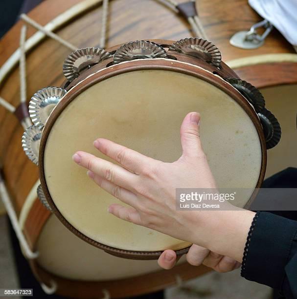 galician tambourine - tambourine foto e immagini stock