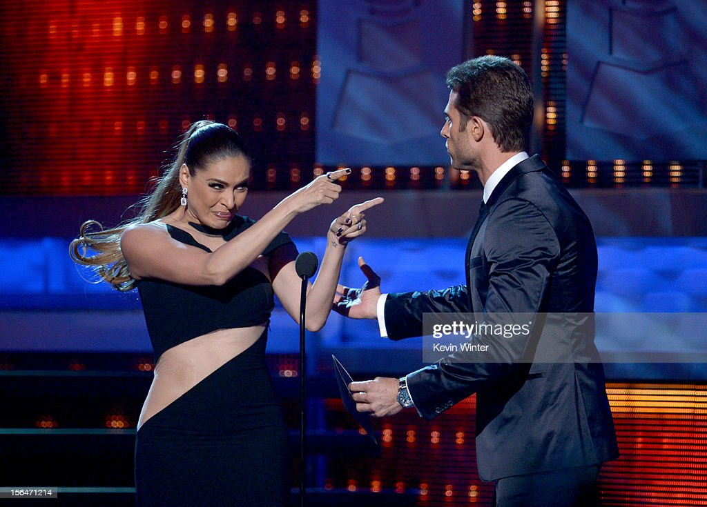 Galilea Montijo (L) and Sebastian Rulli onstage during the 13th annual Latin GRAMMY Awards held at the Mandalay Bay Events Center on November 15, 2012 in Las Vegas, Nevada.