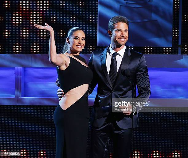 Galilea Montijo and Sebastian Rulli speak onstage at the XIII Annual Latin Grammy Awards held at Mandalay Bay Events Center on November 15 2012 in...