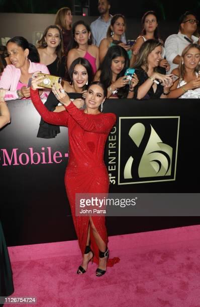 Galilea Montijo arrive at Univision's 31st Edition Of Premio Lo Nuestro A La Musica Latina Pink Carpet at American Airlines Arena on February 21 2019...