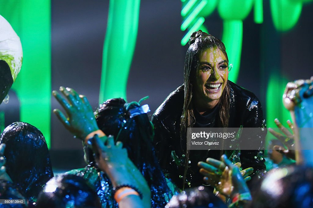 Galilea Montijo get slimed on stage during the Nickelodeon Kids' Choice Awards Mexico 2016 at Auditorio Nacional on August 20, 2016 in Mexico City, Mexico.