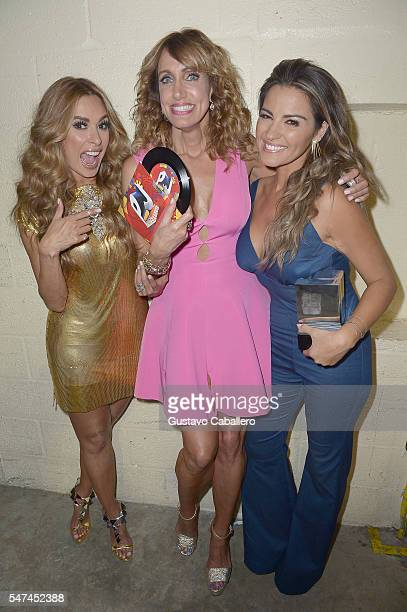 Galilea Montijo Lili Estefan and Maite Perroni attends the Univision's 13th Edition Of Premios Juventud Youth Awards at Bank United Center on July 14...