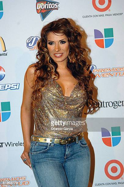 Galilea Montijo poses backstage at the the 1st Annual Premios Juventud Awards at the James L Knight Center September 23 2004 in Miami Florida Premios...