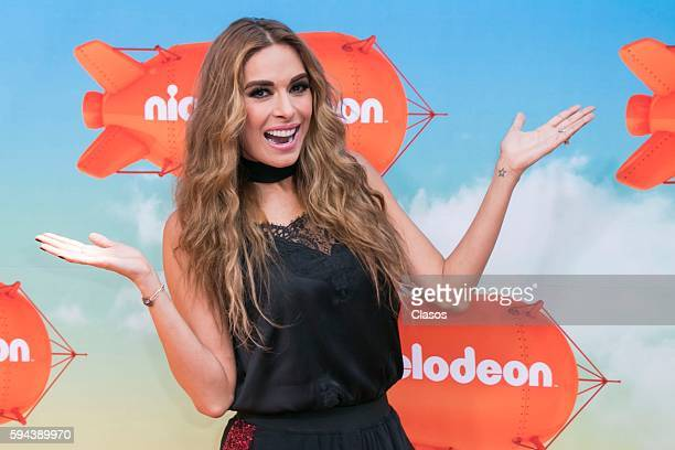 Galilea Montijo poses for pictures during the Kids Choice Awards Mexico 2016 Red Carpet at Auditorio Nacional on August 20 206 in Mexico City Mexico