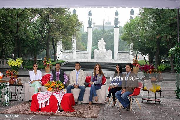 Galilea Montijo Raul Araiza Hector Sandarti Andrea Legarreta Jorge Van Rankin and Cynthia Urias during the transmition of the Hoy Show from the...