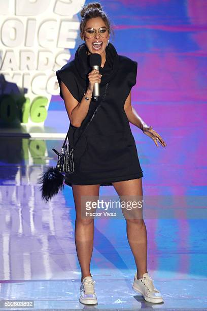 Galilea Montijo talks during the Kids Choice Awards 2016 Show at Auditorio Nacional on August 20 2016 in Mexico City Mexico