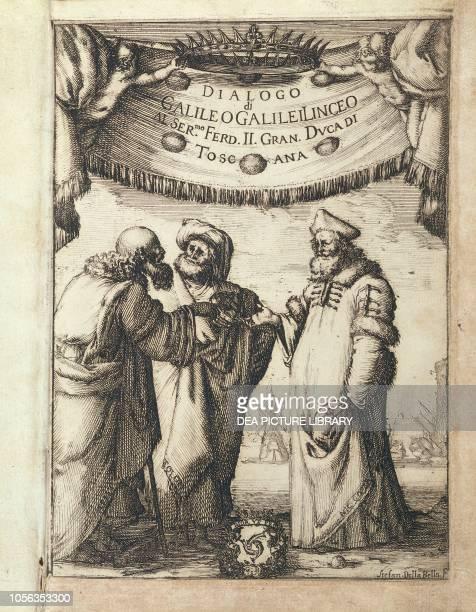 Galileo conversing with Ptolemy and Copernicus illustrated frontispiece from Dialogo sopra i due Massimi Sistemi del Mondo Tolemaico e Copernicano...