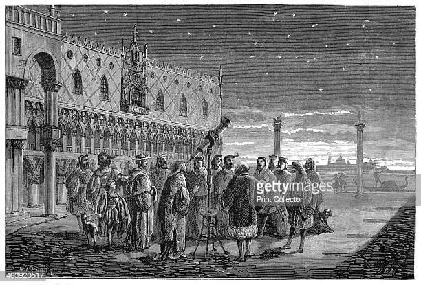 Galileo demonstrating his telescope Venice 1609 In this artist's reconstruction Galileo Galilei Italian astronomer mathematician and physicist is...