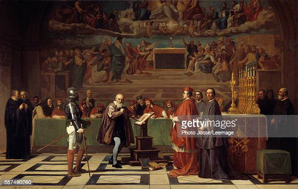 Galileo Galilei before the Holy Office in the Vatican. The astronomer was condemned by the Tribunal of the Inquisition for having defended the...