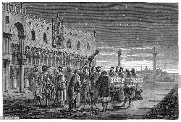 Galileo Galilei demonstrating his telescope Venice 1609 In this artist's reconstruction Galileo Italian astronomer mathematician and physicist is...