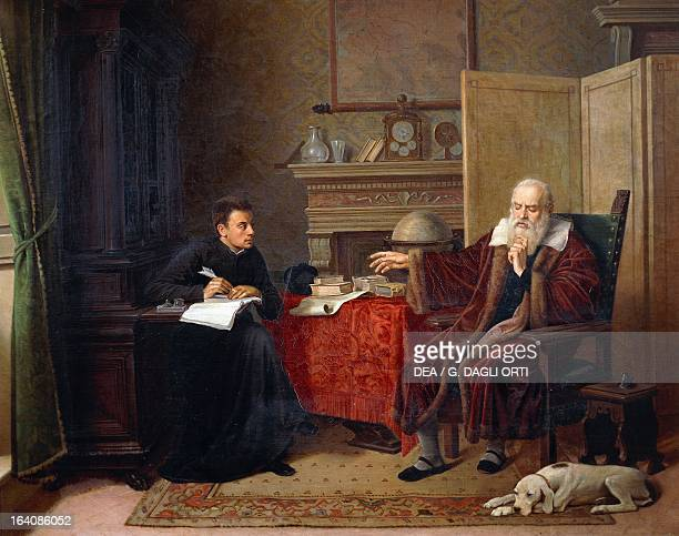 Galileo Galilei dictating his Observations to his secretary in Arcetri Painting by Vincenzo Cesare Cantagalli Palazzo Chigi alla Postierla Siena Italy