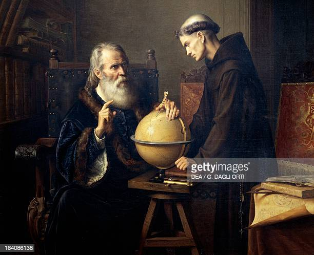 Galileo Galilei explaining his theories at Padua University. Painting by Felix Parra , 1873. Mexico City, Museo Nacional De Arte
