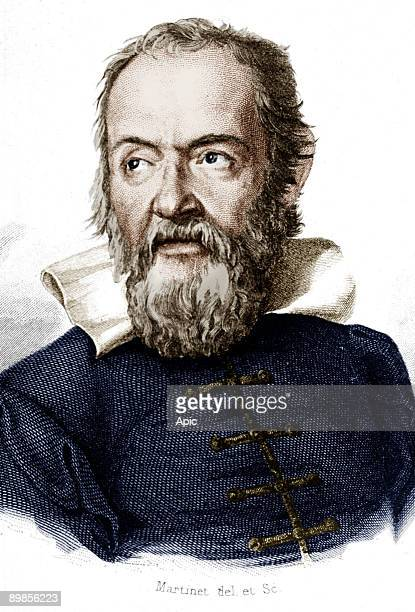Galileo Galilei italian physicist mathematician and astronomer engraving colorized document