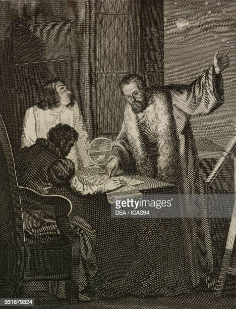 Galileo Galilei showing Cosimo II the moons of Jupiter engraving by Viaviani after a drawing by Pollastrini