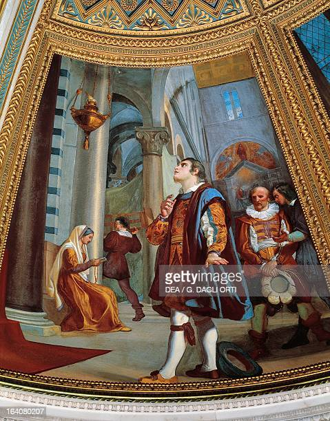Galileo Galilei watching a chandelier swing back and forth at the Cathedral of Pisa Fresco by Luigi Sabatelli Galileo's Tribune La Specola Florence...