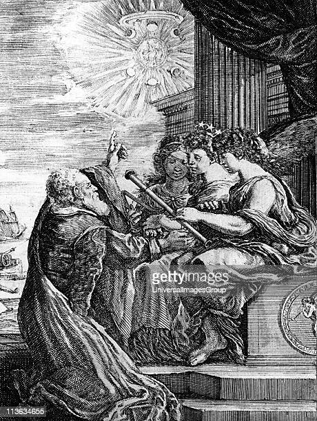 Galileo presenting his telescope to the Muses and pointing out a heliocentric system of the universe Note Jupiter and its satellites the phases of...