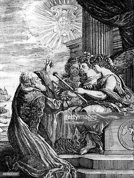 Galileo presenting his telescope to the Muses and pointing out a heliocentric system Note Jupiter and its satellites the phases of Venus and the...