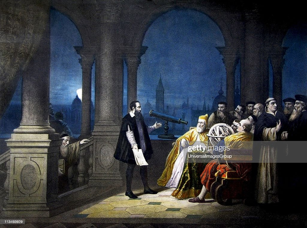 Galileo shows the Doge Leonardo Dona his telescope. And 'August 21, 1609. From a painting by H. J. Detouche... : News Photo