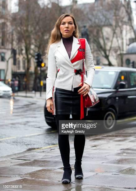 Galina Antonova during London Fashion Week February 2020 on February 16, 2020 in London, England.