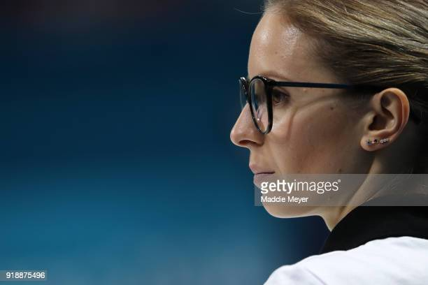 Galina Arsenkina of Olympic Athlete from Russia looks on during the Curling Women's Round Robin Session 4 at Gangneung Curling Centre on February 16...