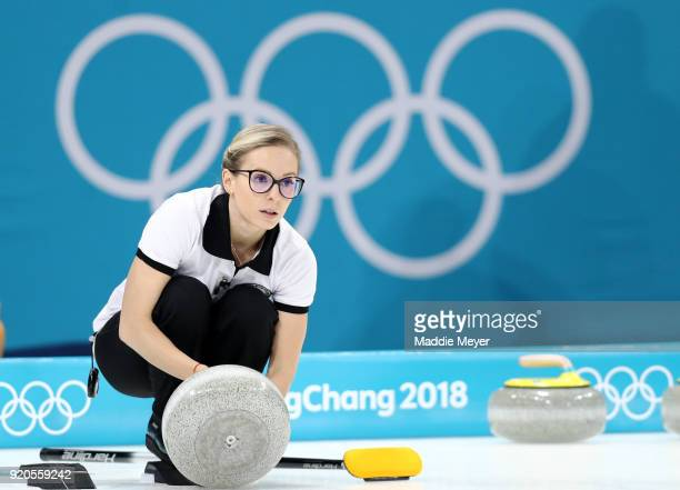 Galina Arsenkina of Olympic Athlete from Russia prepares to deliver a stone during Women's Round Robin Session 9 on day 10 of the PyeongChang 2018...