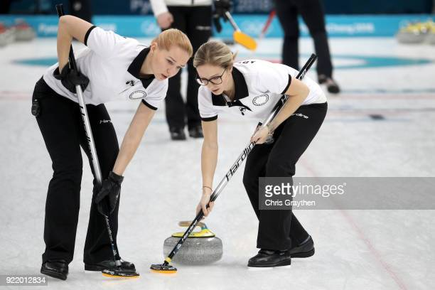 Galina Arsenkina of Olympic Athletes from Russia compete against Korea during the Women's Round Robin Session 11 at Gangneung Curling Centre on...