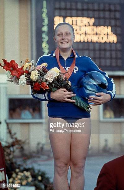 Galina Prozumenshchikova of USSR after receiving the gold medal for the 200 metres breaststroke event at the European Swimming Championships in...