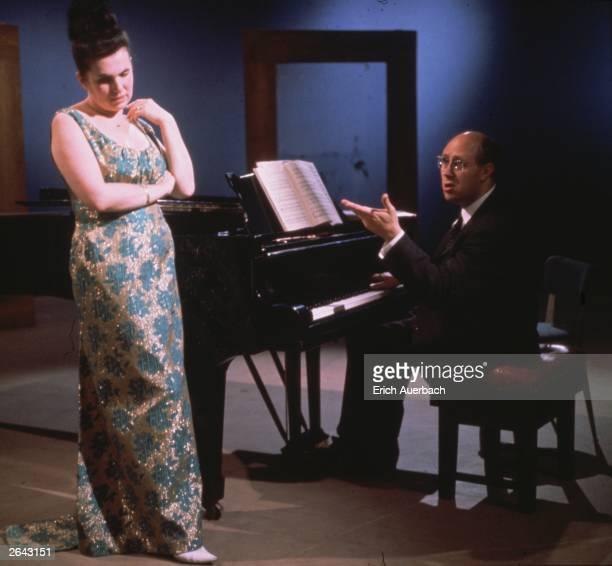 Galina Vishnevskaya with her husband Mstislav Rostropovich rehearsing.