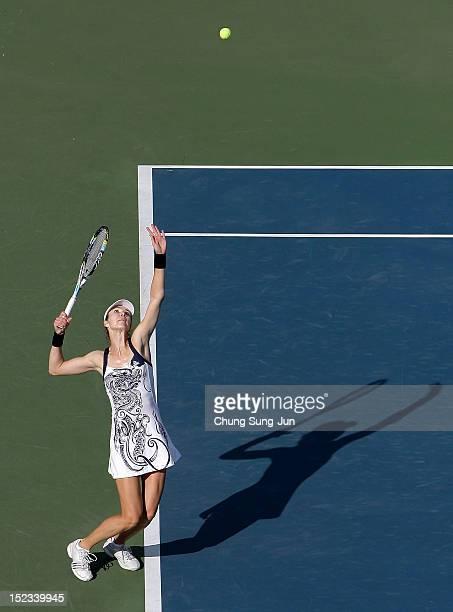 Galina Voskoboeva of Kazakhstan serves to Kaia Kanepi of Estonia during day two of the KDB Korea Open at Olympic Park Tennis Stadium on September 19...