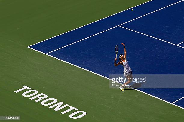 Galina Voskoboeva of Kazakhstan serves to Victoria Azarenka of Belarus on Day 5 of the Rogers Cup presented by National Bank at the Rexall Centre on...