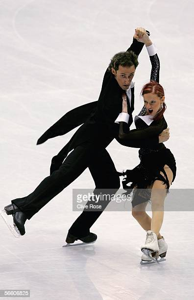 Galit Chait and Sergei Sakhnovski of Israel in action during the Compulsory Ice Dance at the ISU European Figure Skating Championships on January 17,...