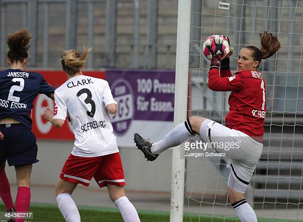 Galkeeper Laura Benkarth of Freiburg grabs the ball during the women's DFB Cup semi final between SGS Essen and SC Freiburg on April 12 2014 in Essen...