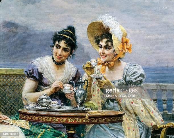 Gallant conversation by Bartolomeo Giuliano oil on canvas 113x156 cm Detail Monza Musei Civici