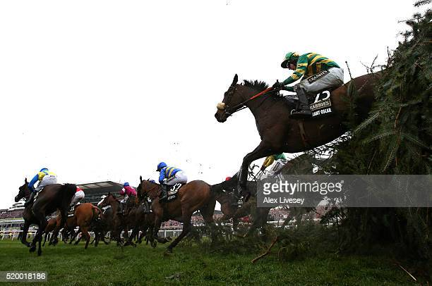 Gallant Oscar ridden by Mark Walsh clears The Chair fence during the Crabbie's Grand National Steeple Chase at Aintree Racecourse on April 9 2016 in...