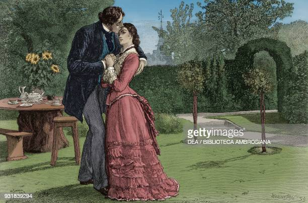Gallant scene in a garden, drawing by William Small, illustration from The Graphic, volume XXVIII, no 735, December 29, 1883. Digitally colorized...