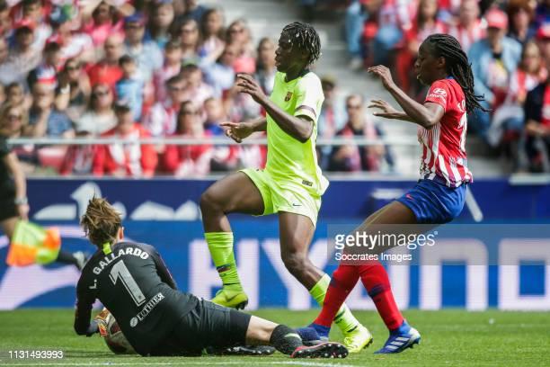 Gallardo of Atletico Madrid Oshoala of FC Barcelona Tounkara of Atletico Madrid during the match between Atletico Madrid Women v FC Barcelona Women...