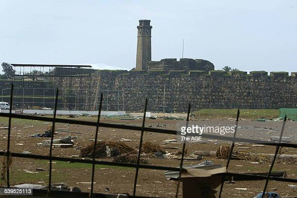 Galle cricket stadium in Galle which is demolished by the tsunami disaster A ball sits on the outfield 8 January 2005 THE AGE NEWS Picture by WAYNE...