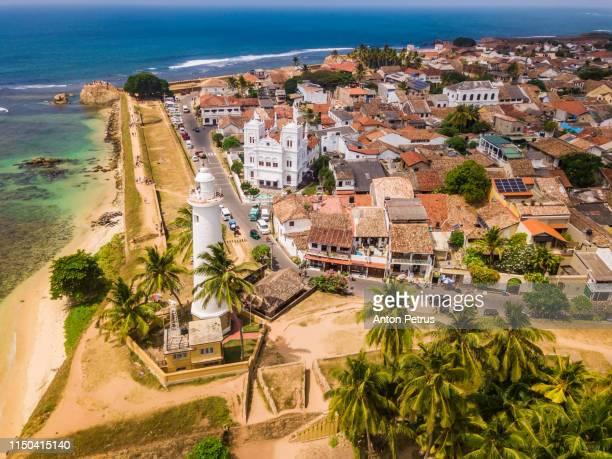 galle dutch fort. galle fort, sri lanka, aerial view - ゴール市 ストックフォトと画像