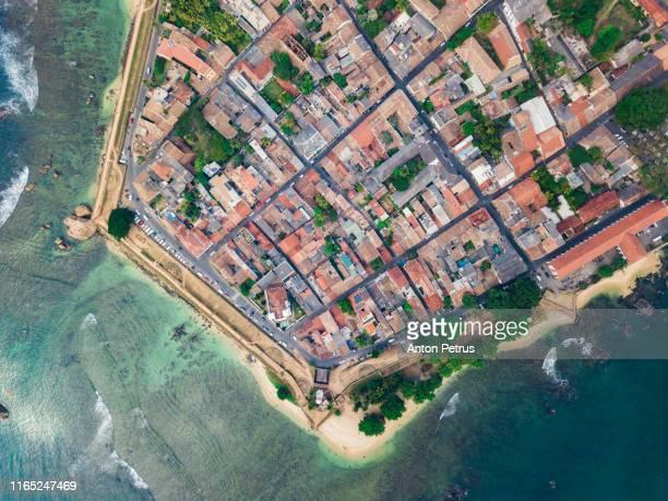 galle dutch fort. galle fort, sri lanka, aerial view - faro city portugal fotografías e imágenes de stock