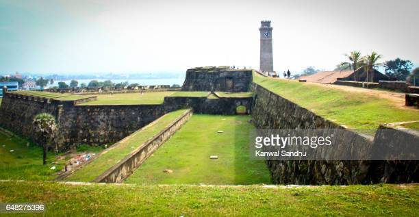 Galle Fort sorrounding walls as seen from the top with clocktower in background