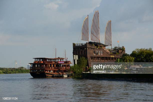 galleon on saigon river marina, ho chi minh city, vietnam - galleon stock photos and pictures