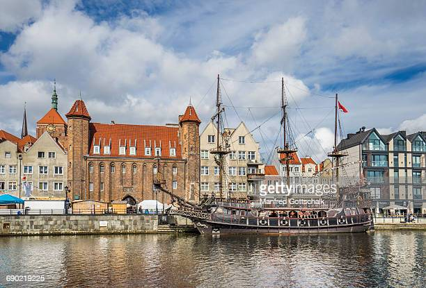 galleon-styled czarna perla at fischbrücke - motlawa river stock pictures, royalty-free photos & images