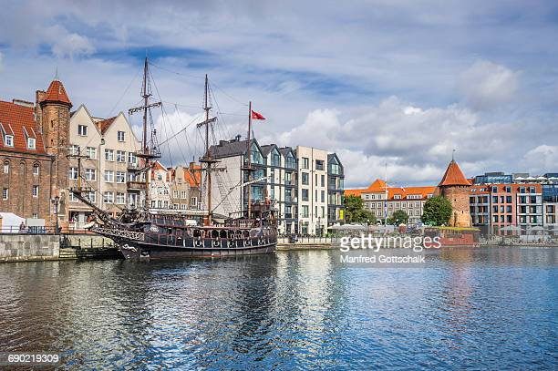 galleon-styled tour boat czarna perla - motlawa river stock pictures, royalty-free photos & images