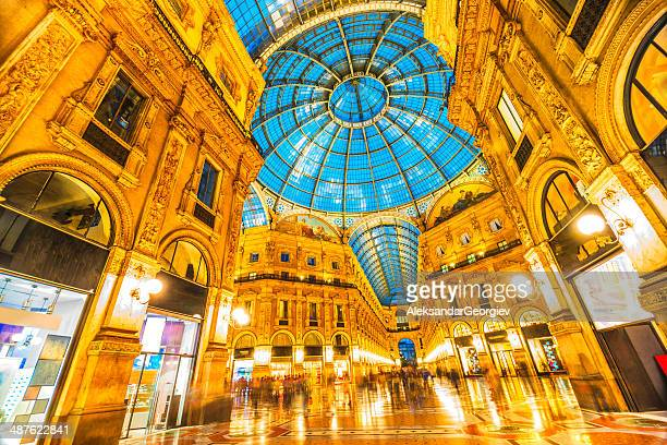 Galleria Vittorio Emanuele II Dome Detail at Night, Milan Italy