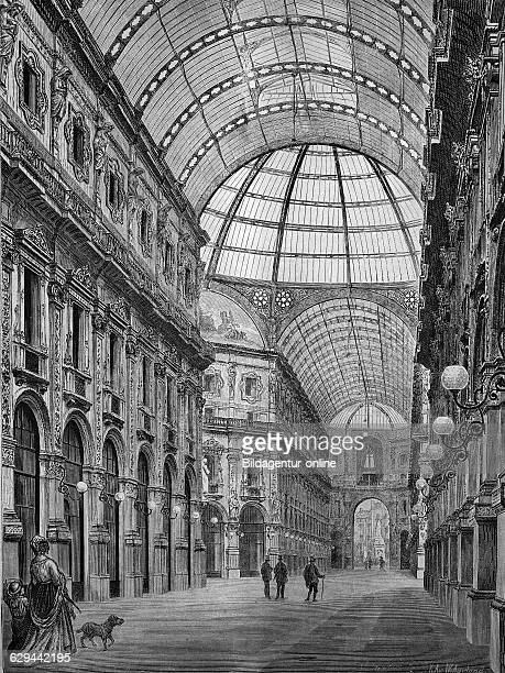 Galleria vittorio emanuele milan italy historical engraving 1869