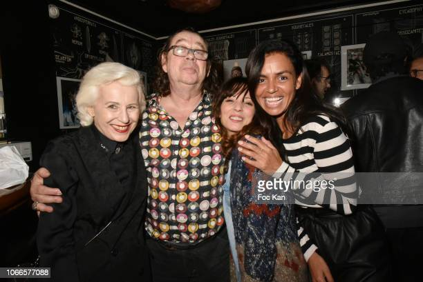 Gallerist Christine Laaban from Galerie La Cle Pierre Terrasson actress Zoe Tellier and TV presenter Laurence Roustandjee attend 'Rock Stage' Pierre...