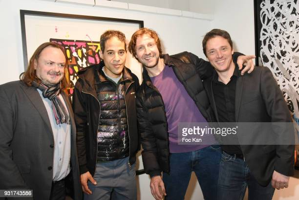 Gallerist Eric Brugier Street Painters JonOne and Nasty and gallerist Laurent Rigail attend ÕBirth of The WindÕ JonOne Preview at Galerie Brugier...