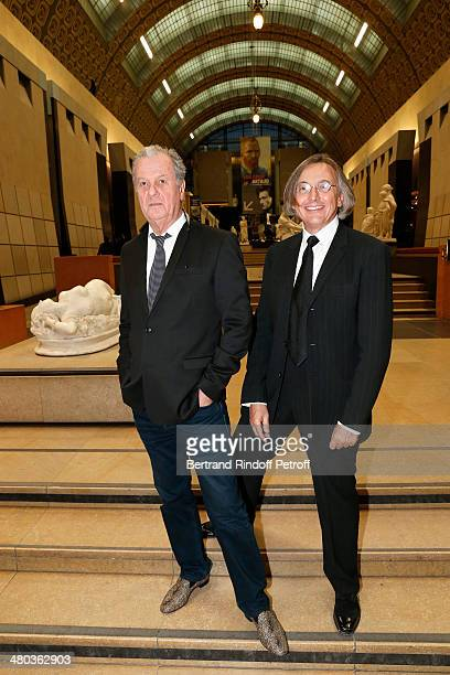Gallerist Pierre Passebon and interior decorator Jacques Grange attend the dinner party of the Societe Des Amis Du Musee D'Orsay at Musee d'Orsay on...